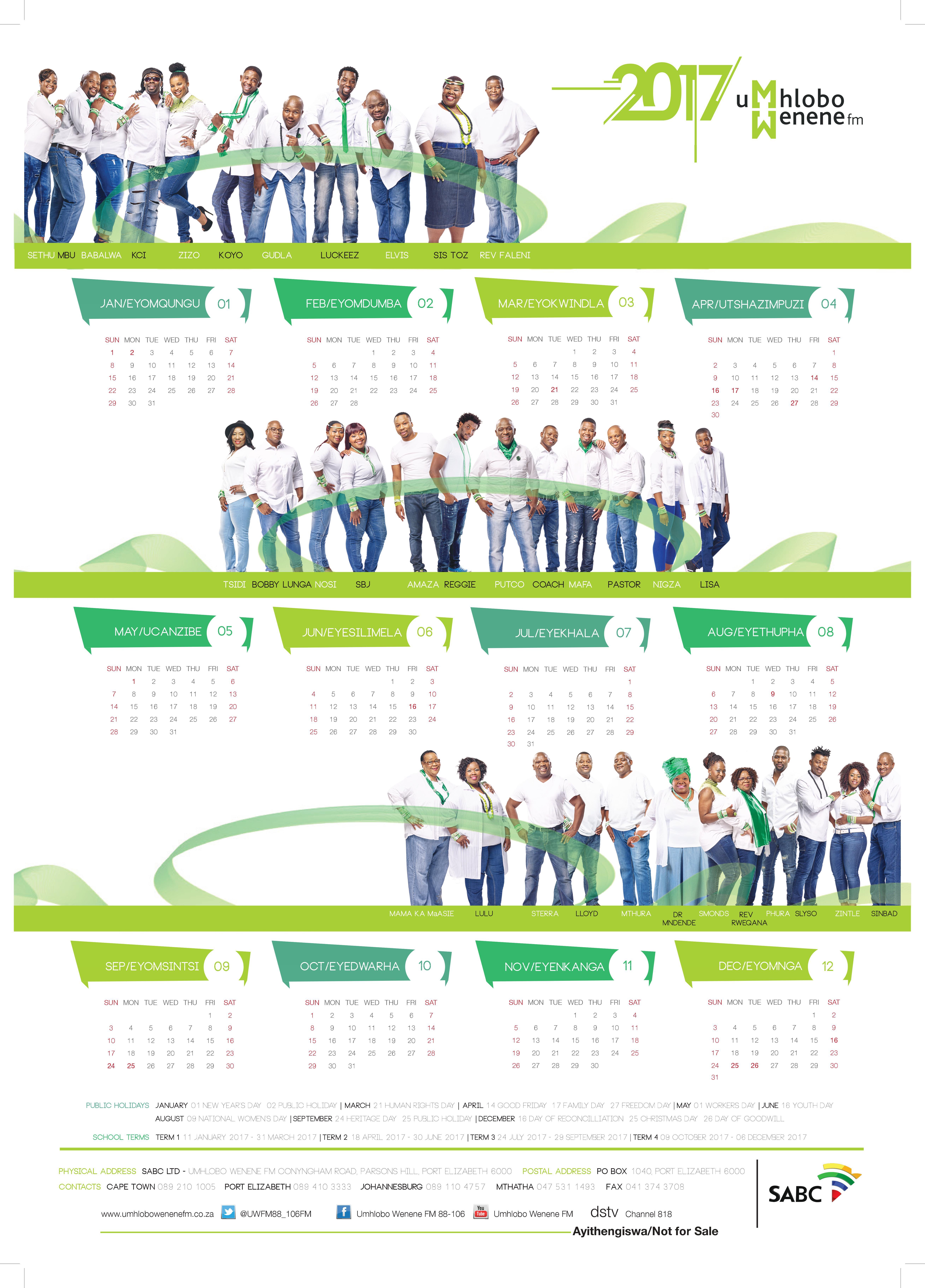 Calendar Za : Station calendar umhlobowenenefm